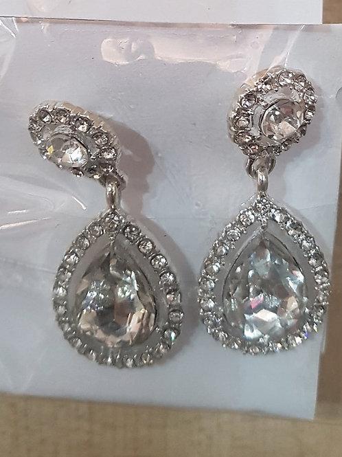 Silver Rhinestone Crystal & Jewelled Drop Earrings 22467