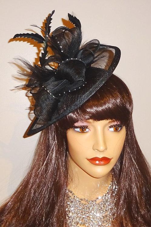 Black Teardrop Sinamay Fascinator Hat