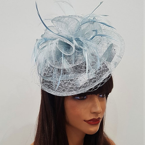Powder Blue Fascinator Hat with veiling on band 171850