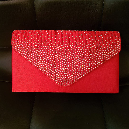 Red satin clutch Bag with strap and lots of sparkle!