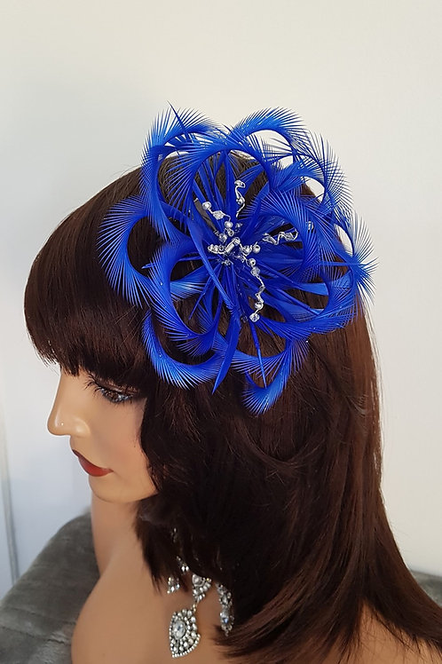 Cobalt Blue Looped Fascinator comb with silver beading 74359