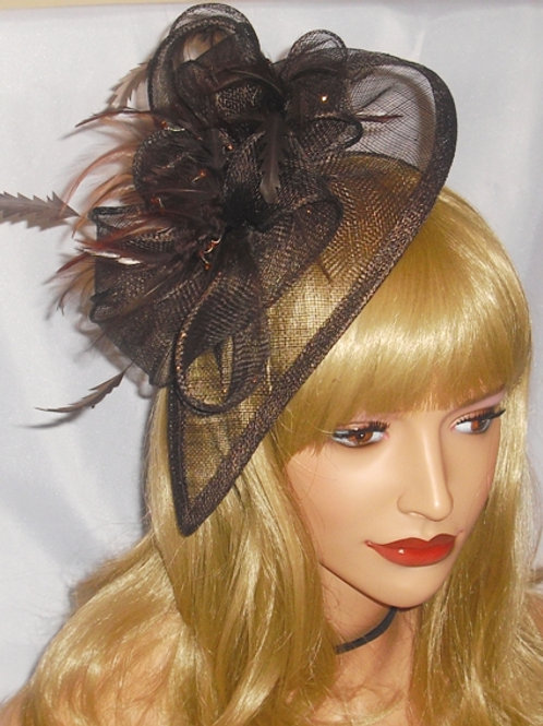 Dark Brown Sinamay Teardrop Fascinator Hat on Band