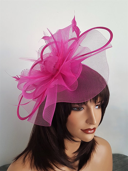 Hot Pink Crin Fascinator Hat with satin covered loops on a band 192819