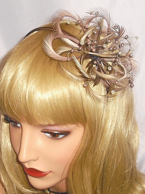 Brown / Taupe Looped Fascinator on Band