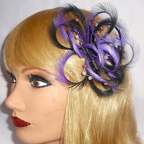 Magenta Purple & Black Looped Fascinator comb 2916