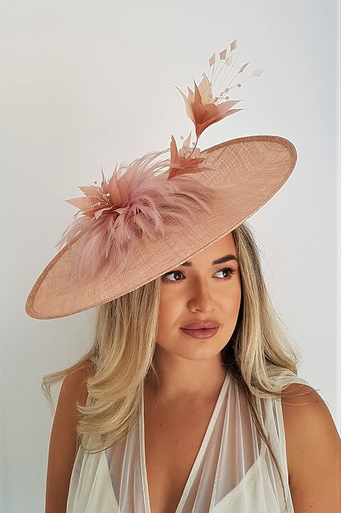 Exclusive Large Salmon Nude Sinamay Hat on band with crystals