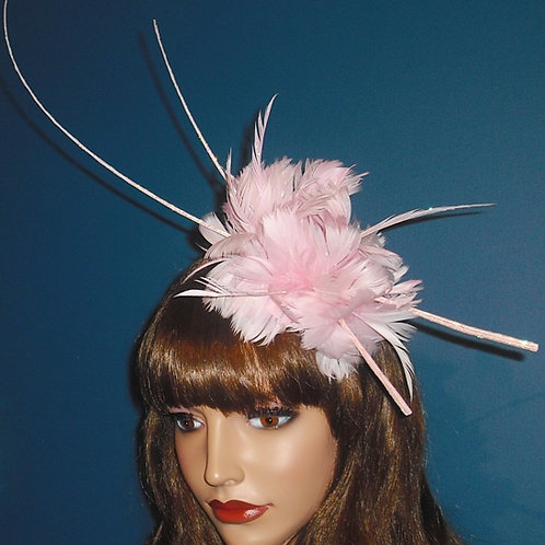 Baby Pale Pink Feather & Quill Fascinator Band