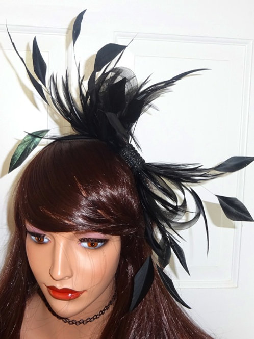 Black Feather Fascinator on band 787896