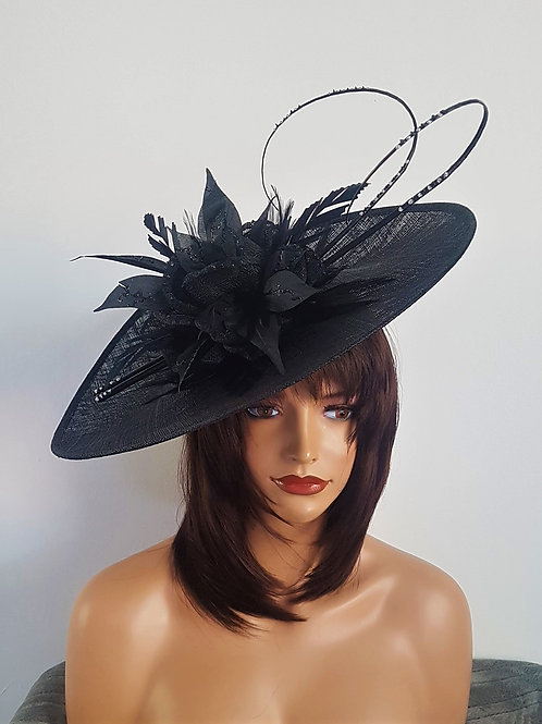 Large Black Saucer Hat with silver sparkle and curled Quills on a band 182777