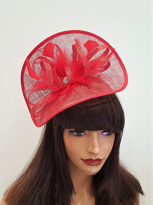 Watermelon Red Fascinator Hatinator Hat  with Diamante Centre