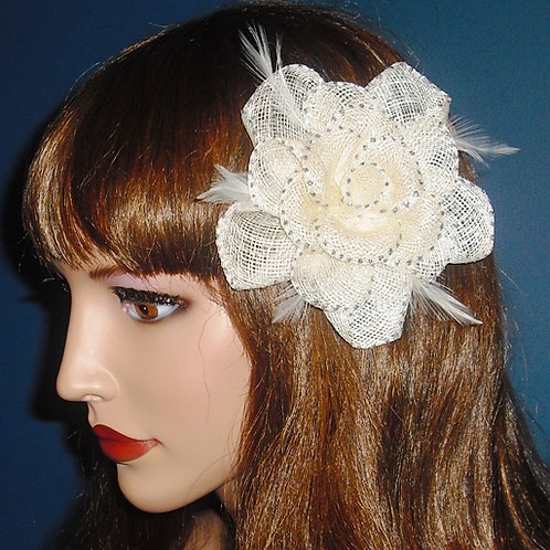 Cream Sinamay Fascinator Clip 445354