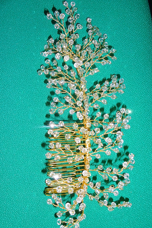 Gold Crystal Fascinator Comb