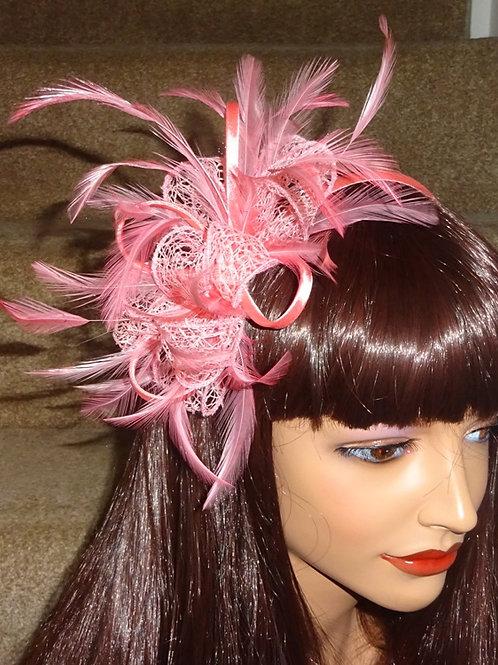 Flamingo Pink Fascinator on band 414141