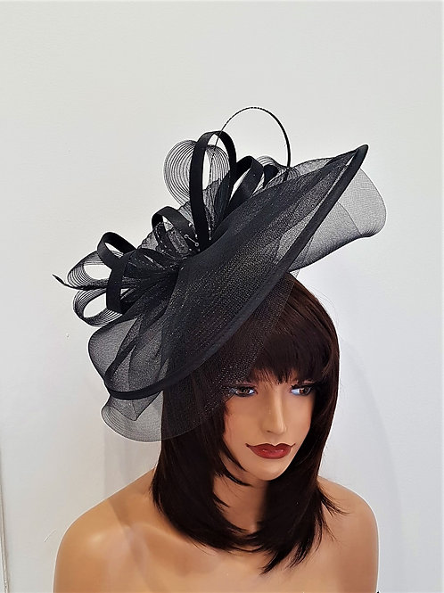 Large Black & silver sparkle Fascinator Hat on a band withcrystals