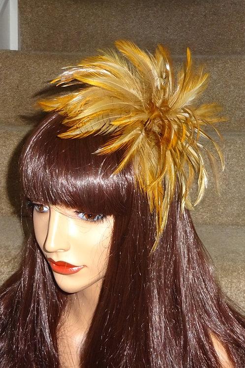 Mustard, Dark Gold Feather Fascinator comb 97869