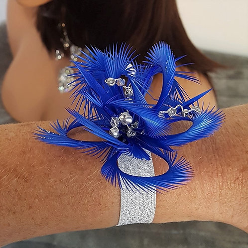 Cobalt Blue Wrist corsage on elasticated silver band