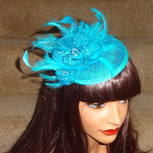 Turquoise Fascinator Hat on thin Band with crystals 393939