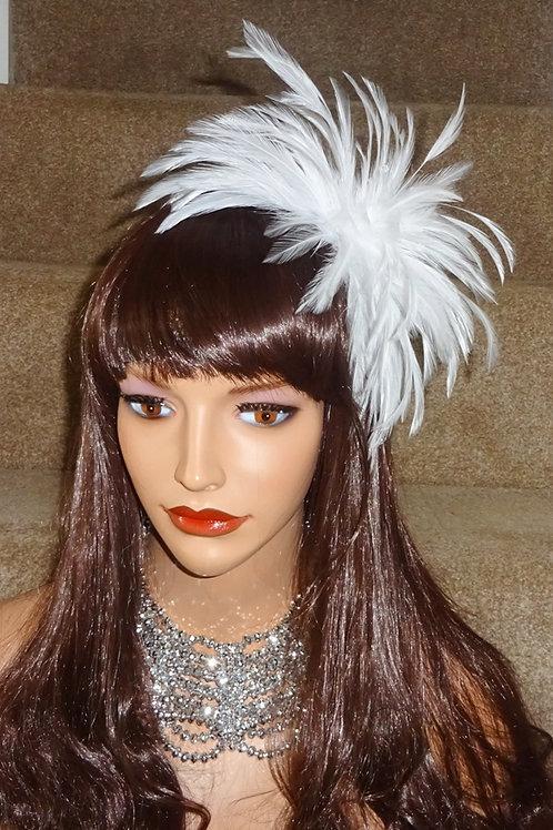 White Feather Fascinator Comb 454578