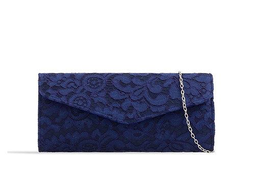 Navy Blue Lace Clutch Bag 11863