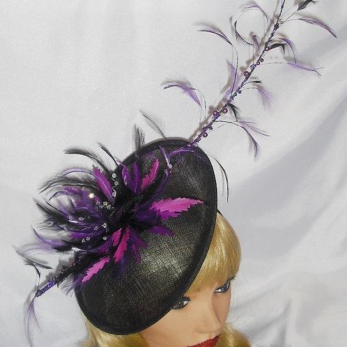 Purple / Magenta & Black Saucer Hat