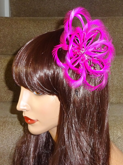 Bright Pink Looped Fascinator comb 2918745