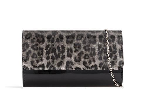 Grey & Black Leopard Print Patent Leather Clutch Bag 745896