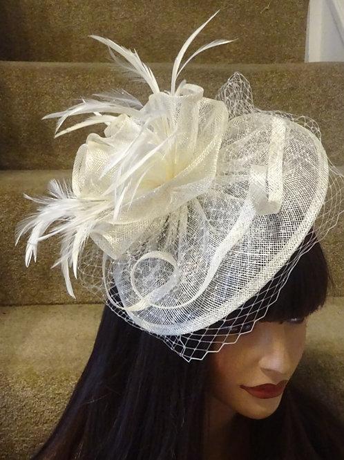 Ivory Cream Fascinator Hat on band 123455