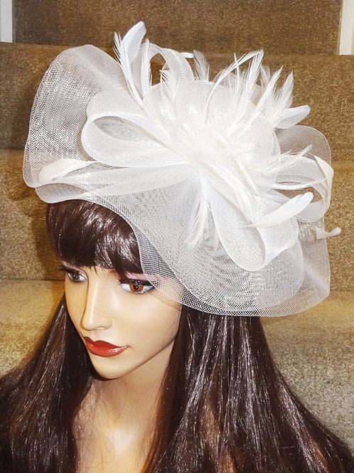 White Crin Fascinator Hat on band with silver sparkle 15123