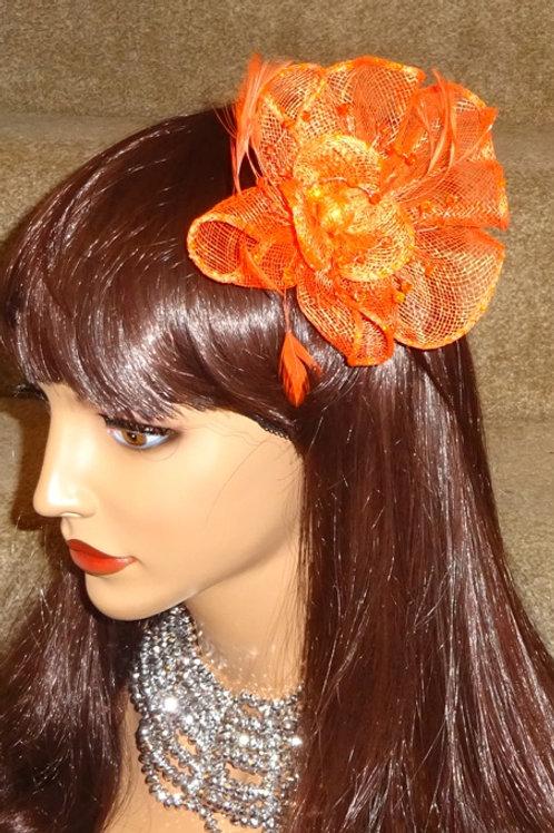 Orange Sinamay Fascinator clip 09086