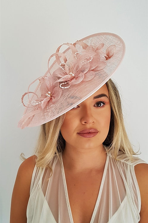 Blush Pink Saucer Hat on band with pearl beading 1728100