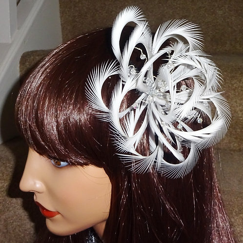 Light Silver Looped Fascinator Comb with Crystals 1894712