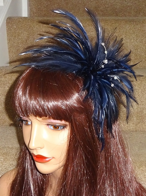 Navy Blue Feather fascinator comb 737375