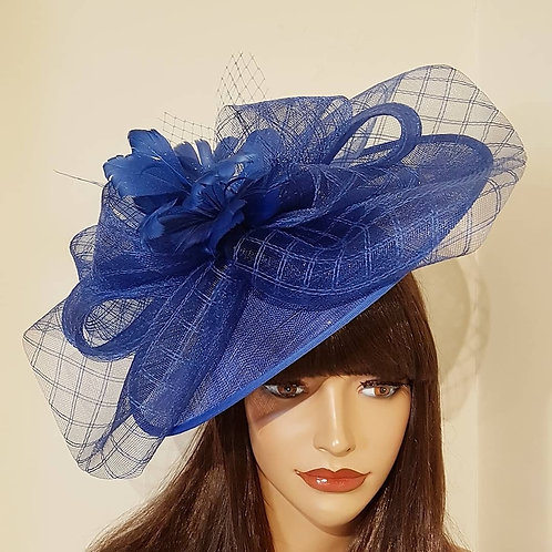 Blue Hat with Feather Flower detail on a band 456987