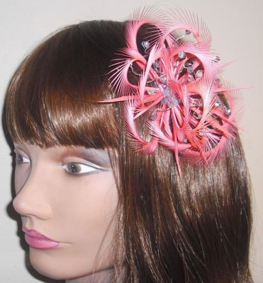 Flamingo Pink Coral Looped Fascinator comb 2a58829dae0