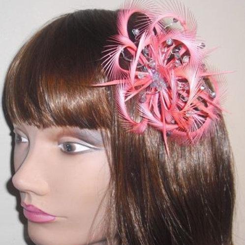 Flamingo Pink Coral Looped Fascinator comb