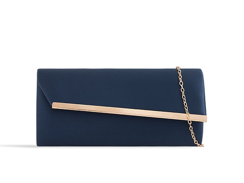 Blue & Gold clutch Bag withstrap 100621