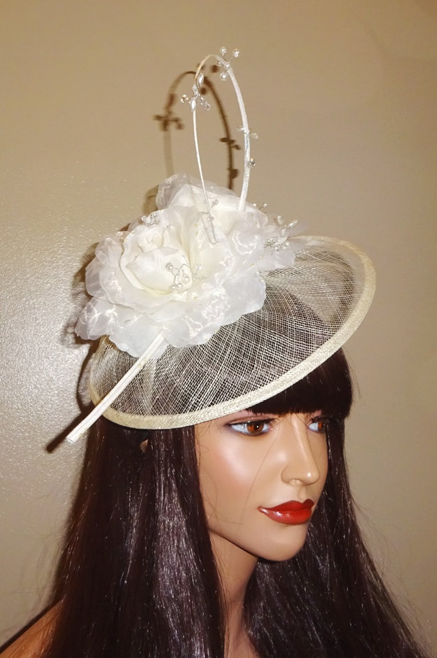be273f24e926a Cream Ivory Sinamay Fascinator Hat on band with Curled quill and pearl  beading