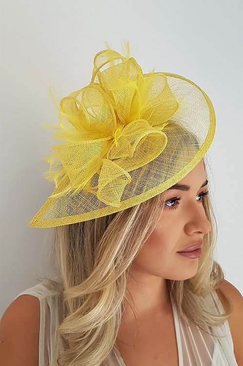 Yellow Sinamay Teardrop Fascinator Hat on a band