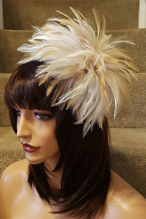 3 shades of Beige, Nude, Ivory Feathers on a comb