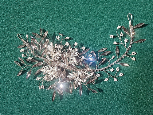 Delicate Silver Rhinestone Hair Accessory (attached with a clip at either end)