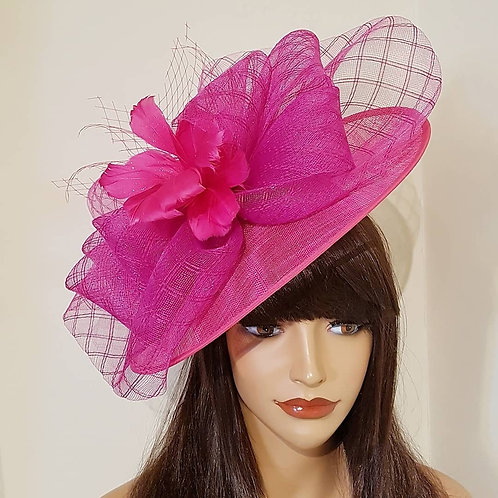Hot Pink Hat with Feather Flower detail on a band 741258