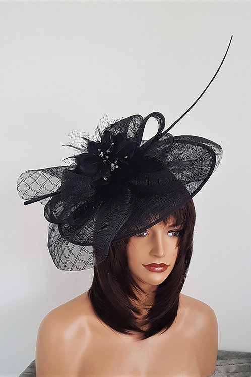 Large Black Hat with quill Feather & Crystals, on a band