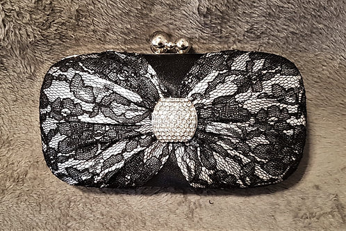 Black & Silver Lace & Diamante centre clutch Bag with chain strap 773569