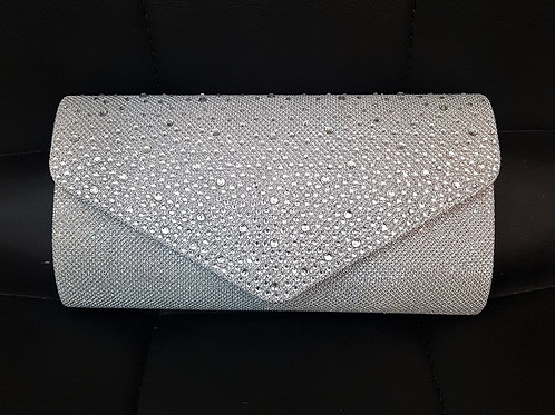 Silver Sparkly clutch Bag with strap 1937118