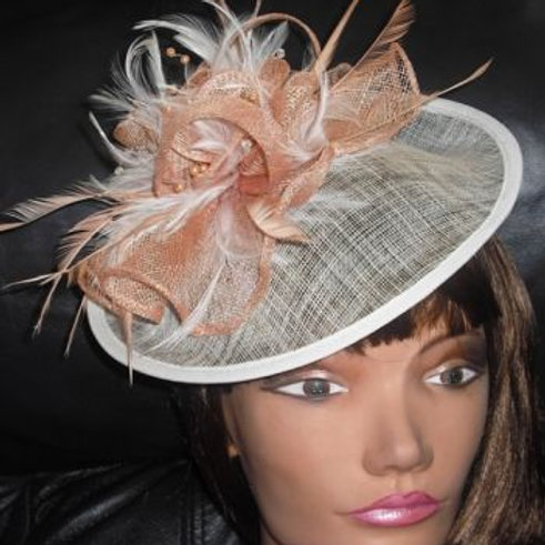 Peach & Ivory Sinamay Saucer Hat
