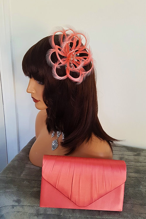 Flamingo Pink Coral Looped Fascinator comb (Bag is an extra £10)