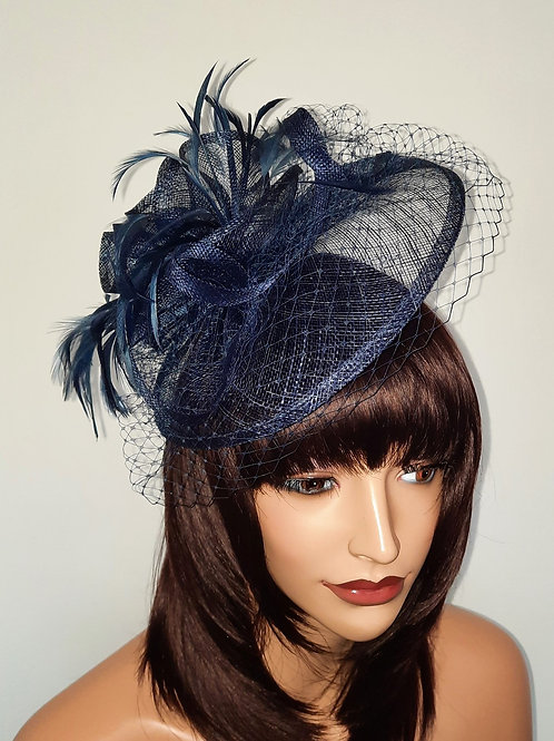 Navy blue Fascinator with veiling on a band 300721