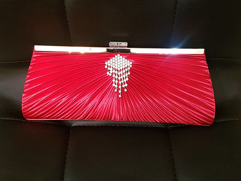 Red clutch Bag with strap and Rhinestone crystal detail