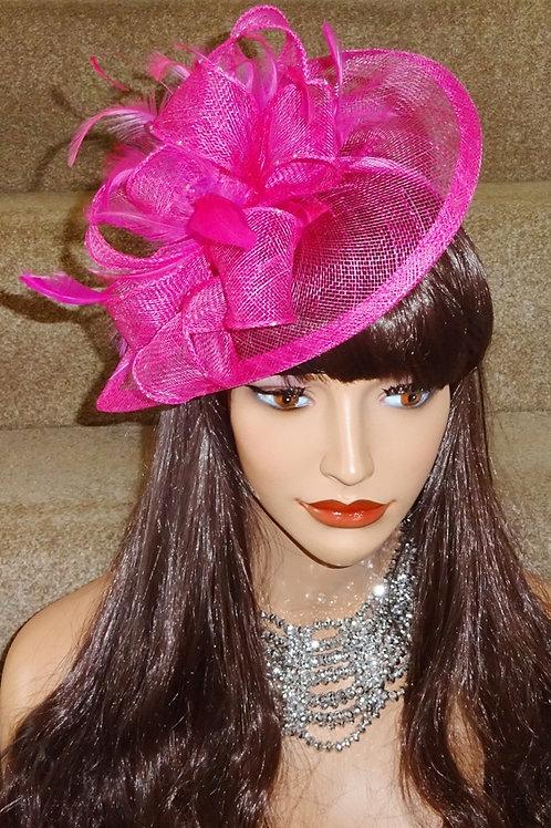 Pink Sinamay Teardrop Fascinator Hat on Band