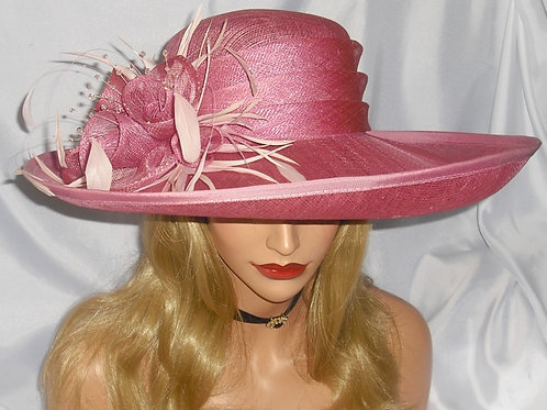 Deep Dusky Pink Sinamay Hat with Crystals